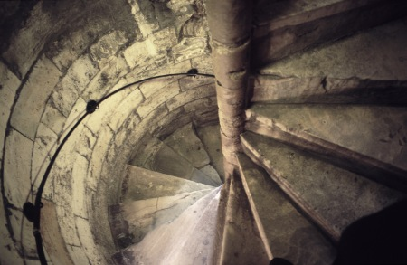 Flight of spiral stone stairs